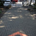 route met krijt graffiti voor zalando