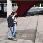 reverse graffiti op trap bij amsterdam arena