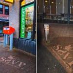 straatreclame met reverse graffiti