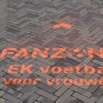 EK voetbal voor vrouwen krijt graffiti fanzone